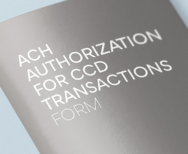 ACH Authorization for CCD Transactions